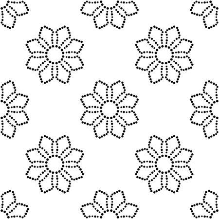 Abstract dotted seamless pattern with mandala flower. Mosaic, tile. Floral background. Vector illustration.