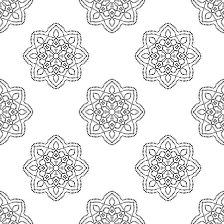Abstract dotted seamless pattern with mandala flower. Mosaic, tile. Floral background. Vector illustration. 版權商用圖片 - 134559124