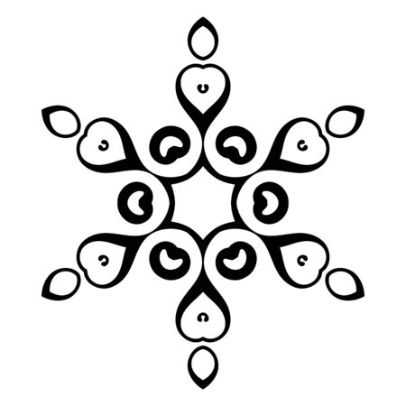 Black ornamental round doodle snowflake, flower isolated on white background. Outline mandala. Geometric circle element. Vector illustration.