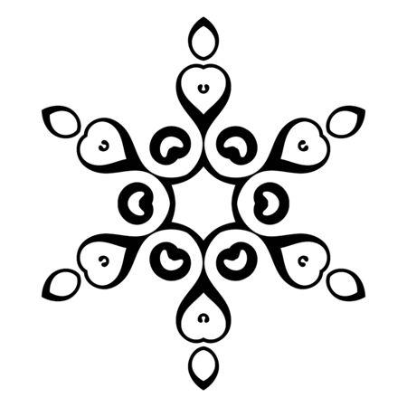 Schwarze dekorative runde Gekritzelschneeflocke, Blume lokalisiert auf weißem Hintergrund. Umriss-Mandala. Geometrisches Kreiselement. Vektor-Illustration.