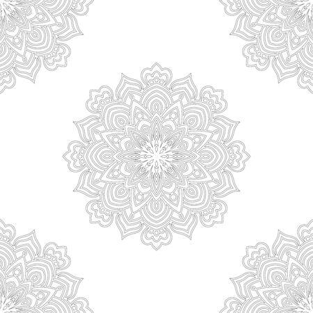 Modèle sans couture de fantaisie avec mandala ornemental. Fond de fleur de griffonnage rond abstrait. Cercle géométrique floral. Illustration vectorielle.