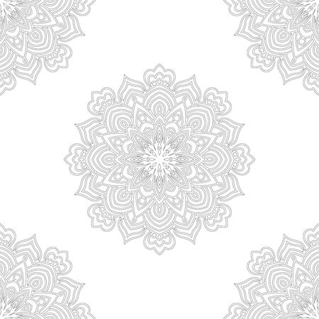 Patrón sin fisuras de fantasía con mandala ornamental. Fondo de flor de doodle redondo abstracto. Círculo geométrico floral. Ilustración vectorial.