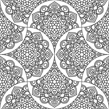 Abstract mandala fish scale seamless pattern. Ornamental tile, mosaic background. Floral patchwork infinity card. Arabic, Indian, ottoman motifs. Vector illustration. Vektorové ilustrace