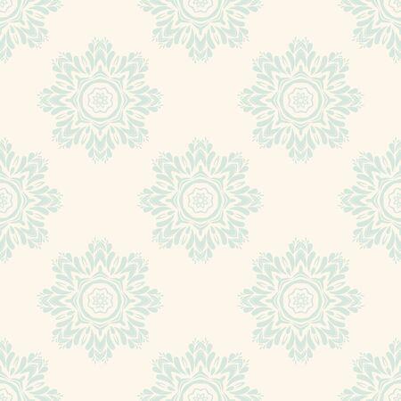 Reticolo senza giunte di fantasia con mandala ornamentale. Fondo rotondo astratto del fiore di scarabocchio. Cerchio geometrico floreale. Illustrazione vettoriale. Vettoriali