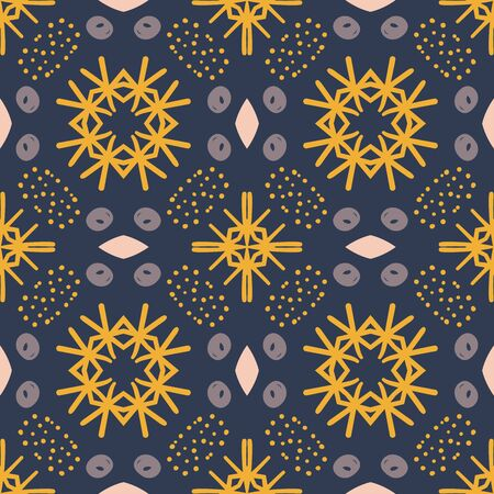 Abstract geometric seamless pattern. Tile background. Infinity wrapping paper with different shapes. Creative texture. Vector illustration. Archivio Fotografico - 137781803