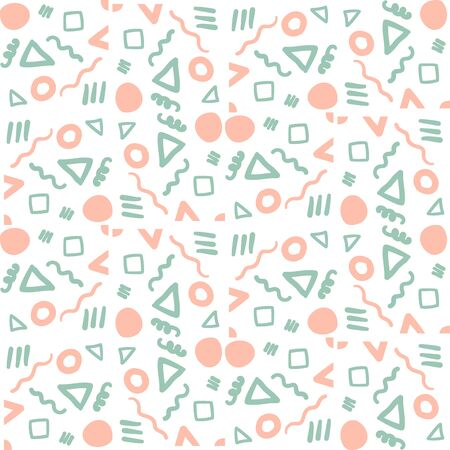 Abstract geometric seamless pattern. Tile background. Infinity wrapping paper with different shapes. Creative texture. Vector illustration. Archivio Fotografico - 137782019