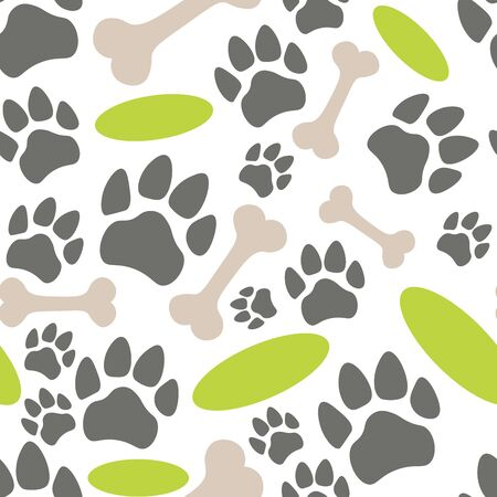 Pets paw pattern. Bones, flying saucer and animal footsteps seamless texture. Pet store background. Vector illustration. Ilustrace