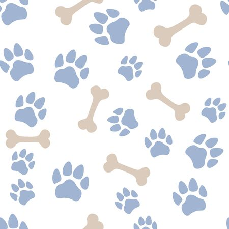 Pets paw pattern. Bones and animal footsteps seamless texture. Pet store background. Vector illustration.