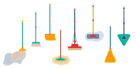 Brooms and mops equipment set. Hygiene handling objects, household mop and housework broom tools isolated on white background. Vector illustration.