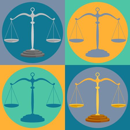 Court scales set. Justice balance symbols and lawyers equality signs, judge scale silhouettes, lawfulness and judgement icons in circles. Vector illustration.  矢量图像