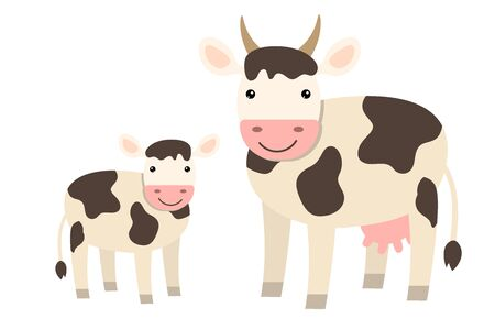 Cute cartoon cow family in flat style isolated on white background. Farm animals.  Vector illustration.   Illustration