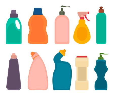 Detergent products bottles. House cleaning plastic packing set, cleaner housekeeping objects isolated on white background. Vector illustration.