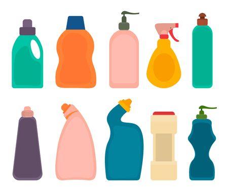 Bouteilles de produits détergents. Ensemble d'emballage en plastique de nettoyage de maison, objets d'entretien ménager plus propres isolés sur fond blanc. Illustration vectorielle.