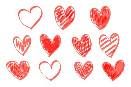 Red highlighter scribble hearts. Hand drawn heart set, abstract red love markers isolated on white background. Vector illustration.