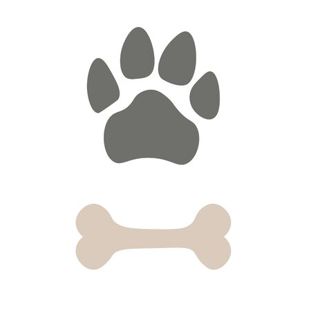 Pets paw and bone. Animal footstep icon. Pet store logo. Vector illustration.