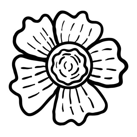 Cute cartoon doodle flower isolated on white background. Floral element for design. Vector illustration.