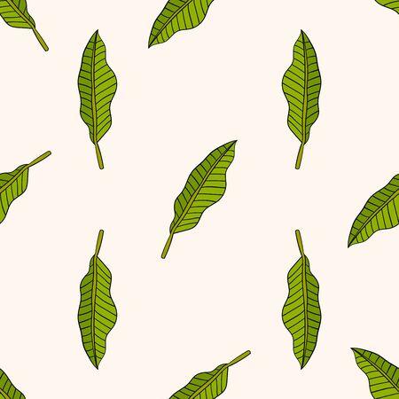 Cartoon doodle palm leaf seamless pattern. Floral tropical background. Vector illustration.