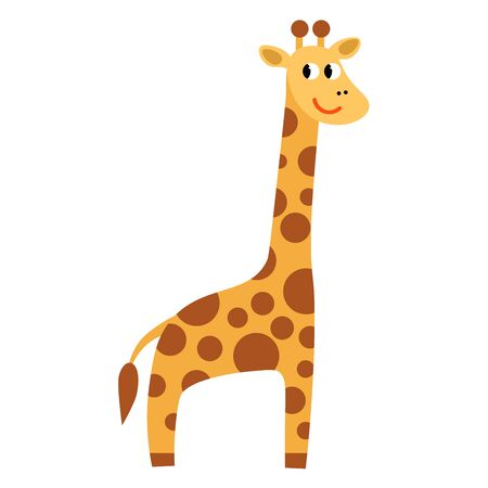 Cartoon cute giraffe in flat style isolated on white background. Childlike style. Vector illustration.