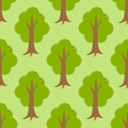 Cute forest seamless pattern with cartoon summer trees in flat style. Woodland background. Vector illustration.