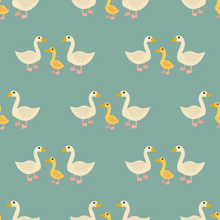 Cartoon cute goose and gosling family in flat style seamless pattern. Farm animal background. Vector  illustration.