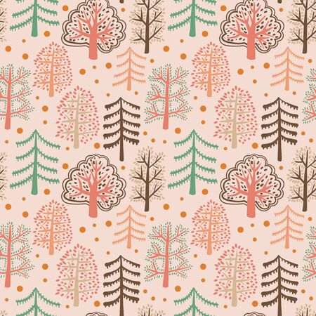 Cute forest seamless pattern with cartoon summer trees and dots in flat doodle style. Woodland background. Vector illustration.  イラスト・ベクター素材