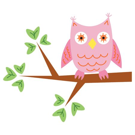 Cute cartoon owl on the tree branch in flat style isolated on white background. Vector illustration.