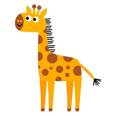 Cartoon cute giraffe in flat style isolated on white background. Childlike style. Vector illustration.  イラスト・ベクター素材