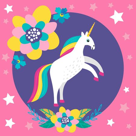 Cute cartoon unicorn with flowers in flat childlike style isolated on bright background. Vector illustration.
