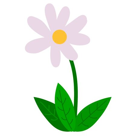 Cartoon happy flower in flat style isolated on white background. Vector illustration. Vecteurs