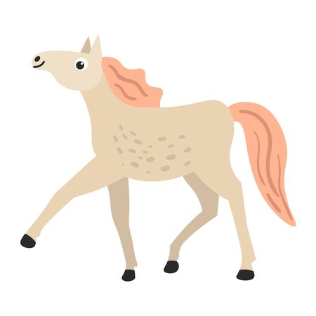 Cartoon happy white horse in flat style isolated on white background.  Foal. Vector illustration.