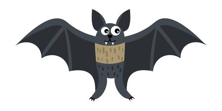 Cartoon happy bat in flat style isolated on white background. Vector illustration.