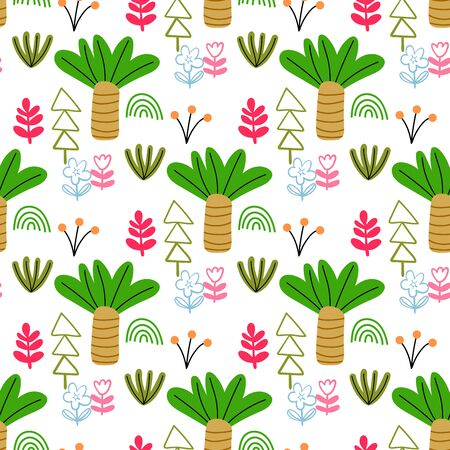 Cartoon doodle forest seamless pattern. Trees, bushes, leaves, flowers in Scandinavian childlike style background. Vector illustration. Ilustrace