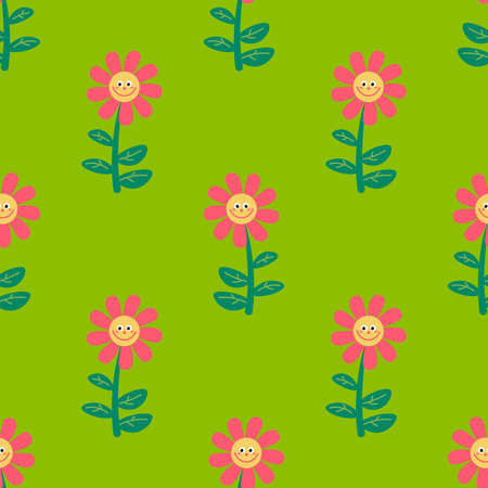Cute cartoon flowers in childlike flat style seamless pattern. Floral background. Vector illustration.
