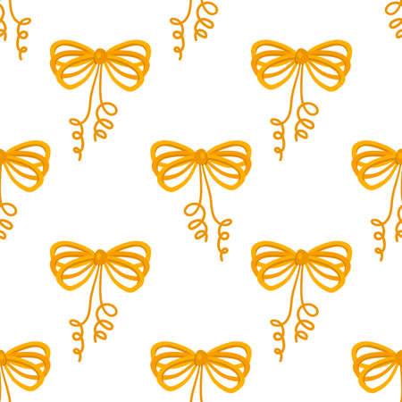 Cartoon seamless pattern with decorative golden bows. Gift ribbons satin for Christmas gifts, present cards and pack background. Wrapping paper. Vector illustration.