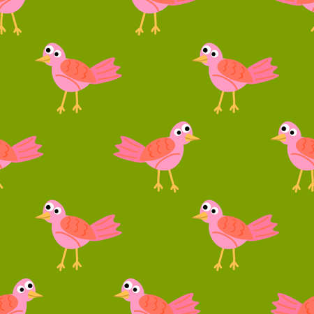 Cute cartoon seamless pattern with tropic bird in flat style. Animal background. Vector illustration.