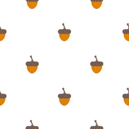 Cute cartoon acorns in flat style seamless pattern. Woodland, nut background. Vector illustration.