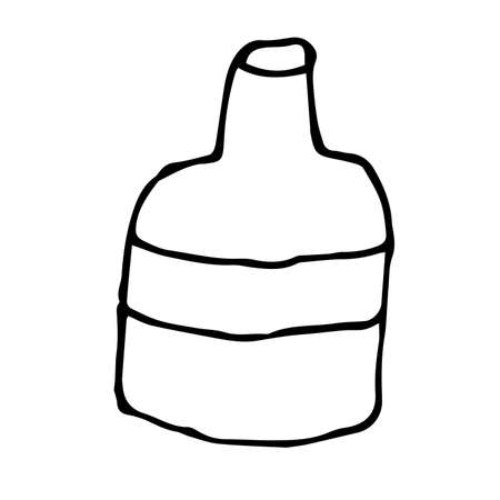 Cartoon doodle outline bottle isolated on white background. Dish icon. Vector illustration.