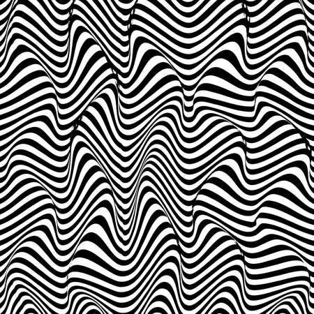 Abstract distortion line background. Striped wave backdrop. Wavy Op art cover. Vector illustration. Ilustracje wektorowe