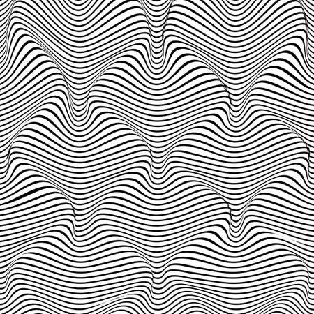 Abstract distortion line background. Striped wave backdrop. Wavy Op art cover. Vector illustration. 矢量图像
