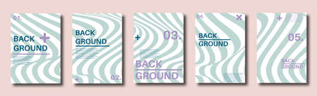 Abstract distortion line backgrounds. Striped wave backdrops. Wavy Op art covers. Halftone flyers, cards, posters. illustration.
