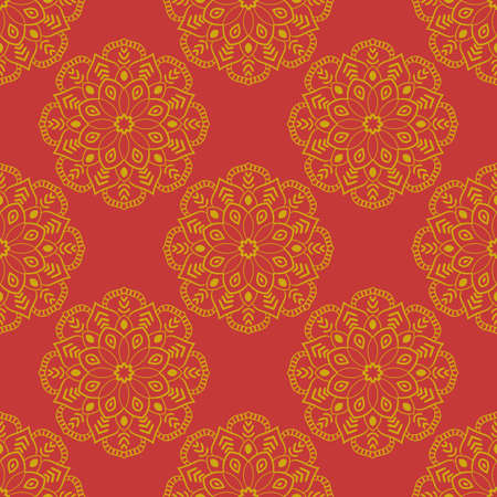 Abstract seamless pattern with mandala flower. Polka dot mosaic, tile. Floral background. Vector illustration.