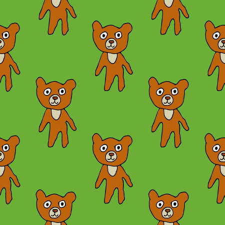 Cute cartoon bear in childlike doodle style seamless pattern. Woodland animal background. Vector illustration.