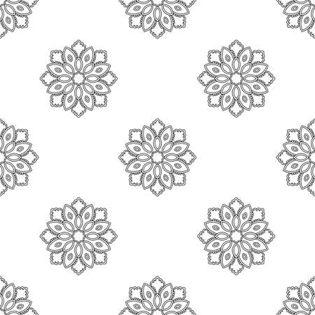 Fantasy seamless pattern with ornamental mandala. Abstract round doodle flower background. Floral geometric circle. Vector illustration.
