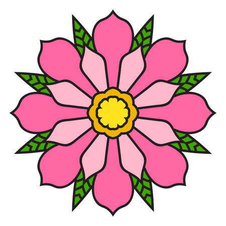 Colorful outline flower mandala. Doodle round decorative element for coloring book isolated on white background. Floral geometric circle. Vector illustration.
