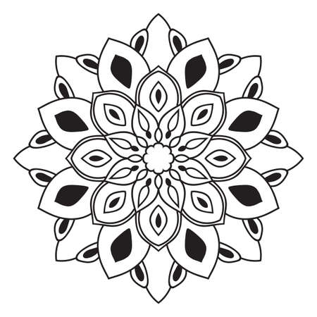 Black outline flower mandala. Doodle round decorative element for coloring book isolated on white background. Floral geometric circle. Vector illustration.