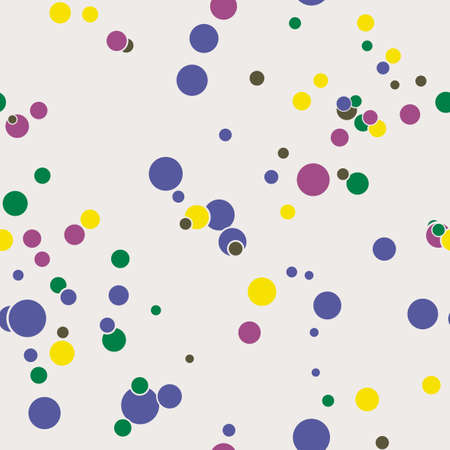 Abstract seamless pattern with colorful chaotic small circles. Infinity dotted messy geometric pattern. Random polka dot. Vector illustration.  イラスト・ベクター素材