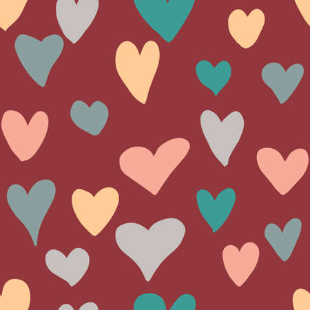 Cute messy hearts seamless pattern. Romantic Valentine's day background. Vector illustration.