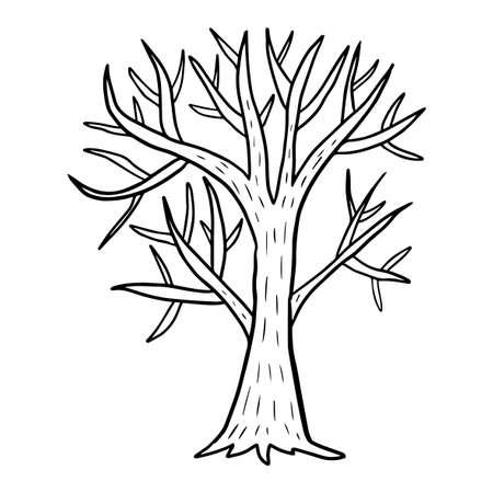 Cartoon doodle tree without foliage isolated on white background. Bald tree. Vector illustration.