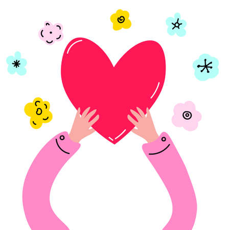 Love and compassion hand drawn vector illustration. Hands holding heart isolated on white background. Valentine day, romantic holiday symbol. Charity work, philanthropy. Vector illustration.