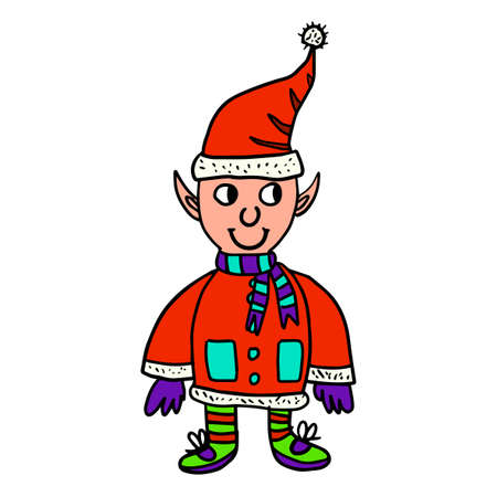 Cute doodle Christmas and Happy New Year elf in Santa hat isolated on white background. Vector illustration.